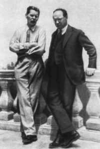 Above: In the 1930s Kerzhentsev (right) was a fixture of the Soviet cultural apparatus, mixing with figures such as Maxim Gorky (left), Dmitri Shostakovich and Mikhail Bulgakov.