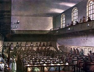 Above: Aquatint engraving of an original painting by John Bluck of an early nineteenth-century Quaker Meeting.