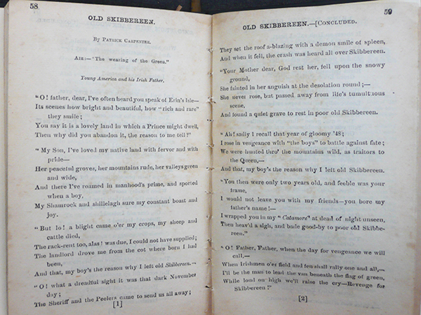 Above: Pages 58 and 59 of The favorite 'Irish Sunburst' songster, No. 3, printed by Robert M. De Witt, 33 Rose Street, New York, in 1873, with the same lyrics, also attributed to Patrick Carpenter, that appeared in The wearing of the green song book in Boston in 1869.