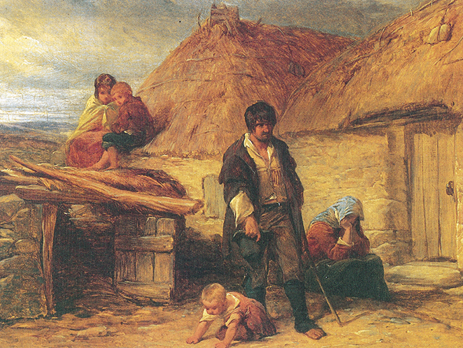 Above: An Irish eviction (1850) by Frederick Goodall. All versions of 'Old Skibbereen' urge armed hostility against the British government in revenge for the Great Hunger and subsequent tenant evictions. (Leicester Museum & Art Gallery)