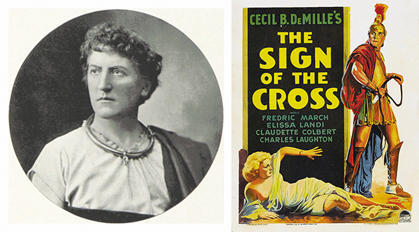 Above: Wilson Barrett (left) c. 1899, one of the most famous theatrical personalities of the era. His historical play The Sign of the Cross (on O'Donnell's list) was later adapted for film by Cecil B. DeMille in 1932 (right).