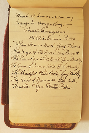 Above: O'Donnell's early 1918 list of the seven books he read on the journey from Durban in South Africa to Hong Kong, beginning with Rives's Hearts Courageous. (Jim Lynch)