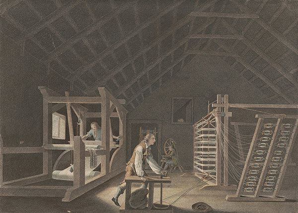 Above: 'Winding, Warping, with a new improved warping Mill, and Weaving'—one of twelve engravings published by William Hincks in 1783 to illustrate the various stages in the preparation of linen, from sowing the flax seed to the sale of the bleached cloth. (Irish Linen Centre and Lisburn Museum)