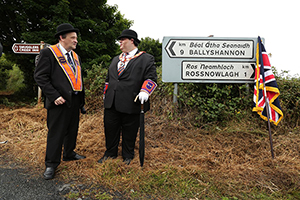 Above: Orangemen at the Rossnowlagh parade in 2016. Following predictions of trouble from Senator McGlinchey, the 1970 parade was cancelled and not resumed until 1978. (ITV)