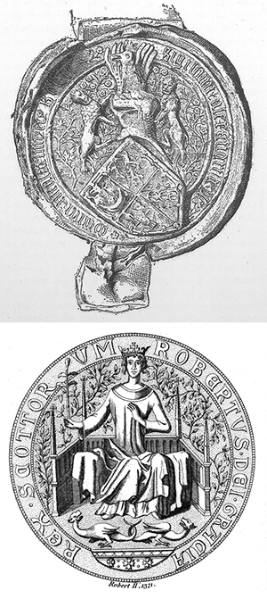 Above (Top): The seal of Robert II of Scotland (d. 1390). He and his successor, Robert III (d. 1406), were highly attuned to the cultural and political nuances of the Gaelic world and enjoyed considerable support from the Gaelic Scottish nobility. ----------------------------------------------------------------------- Above: The seal of Alexander MacDonald, lord of the Isles. In the struggle against him in the 1430s, James I of Scotland sought assistance from the lord of Tyrconnell, Niall Garbh O'Donnell (d. 1439). Alexander prevailed and was elevated to the earldom of Ross in 1436, and the O'Donnell hegemony in Ulster and Connacht collapsed.