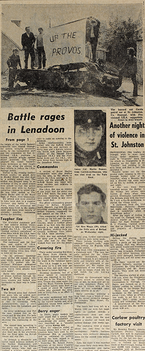 Above: 'Another night of violence in St Johnston'. (Irish Press, 14 July 1972, p. 4)